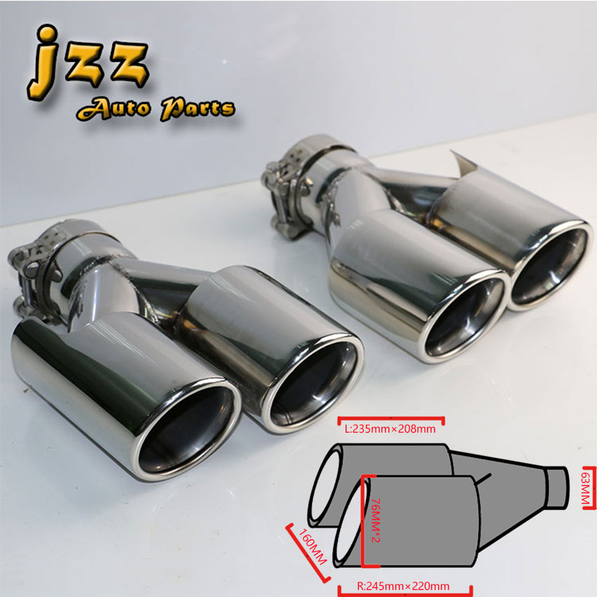 1 PCS Argent haute qualité Double voiture queue tuyau d'échappement silencieux En Acier Inoxydable Silencieux tuyau d'échappement pour a4