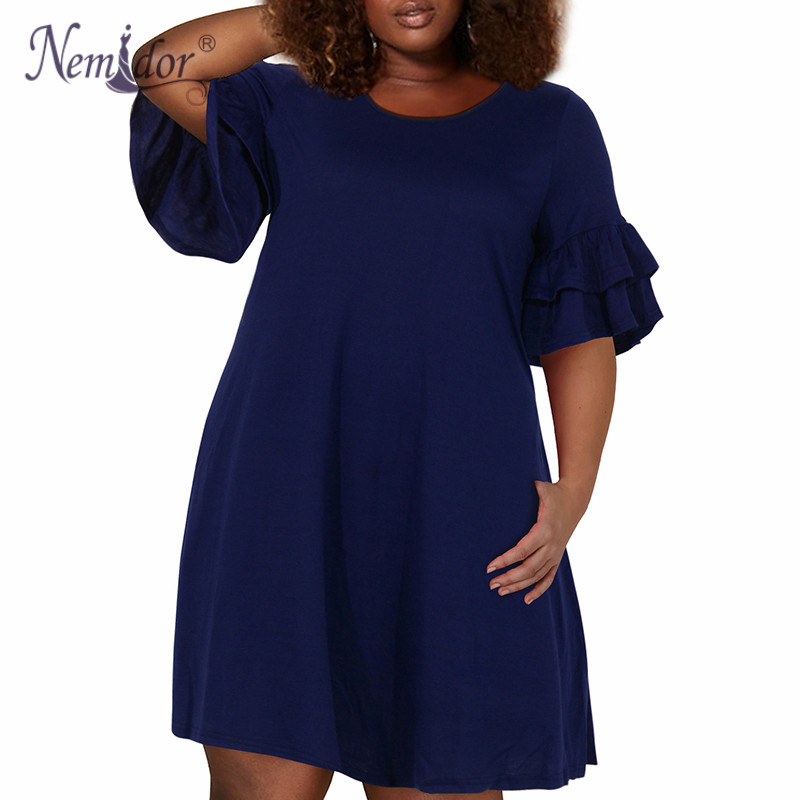 Nemidor Women Vintage Ruffle Sleeve O-neck 50s Party Stretchy A-line Dress Plus Size 7XL 8XL 9XL Casual Swing Dress With Pocket