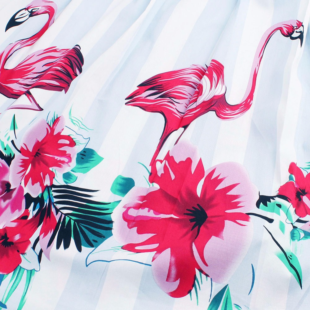 Vintage Flamingo Print Swing Dress