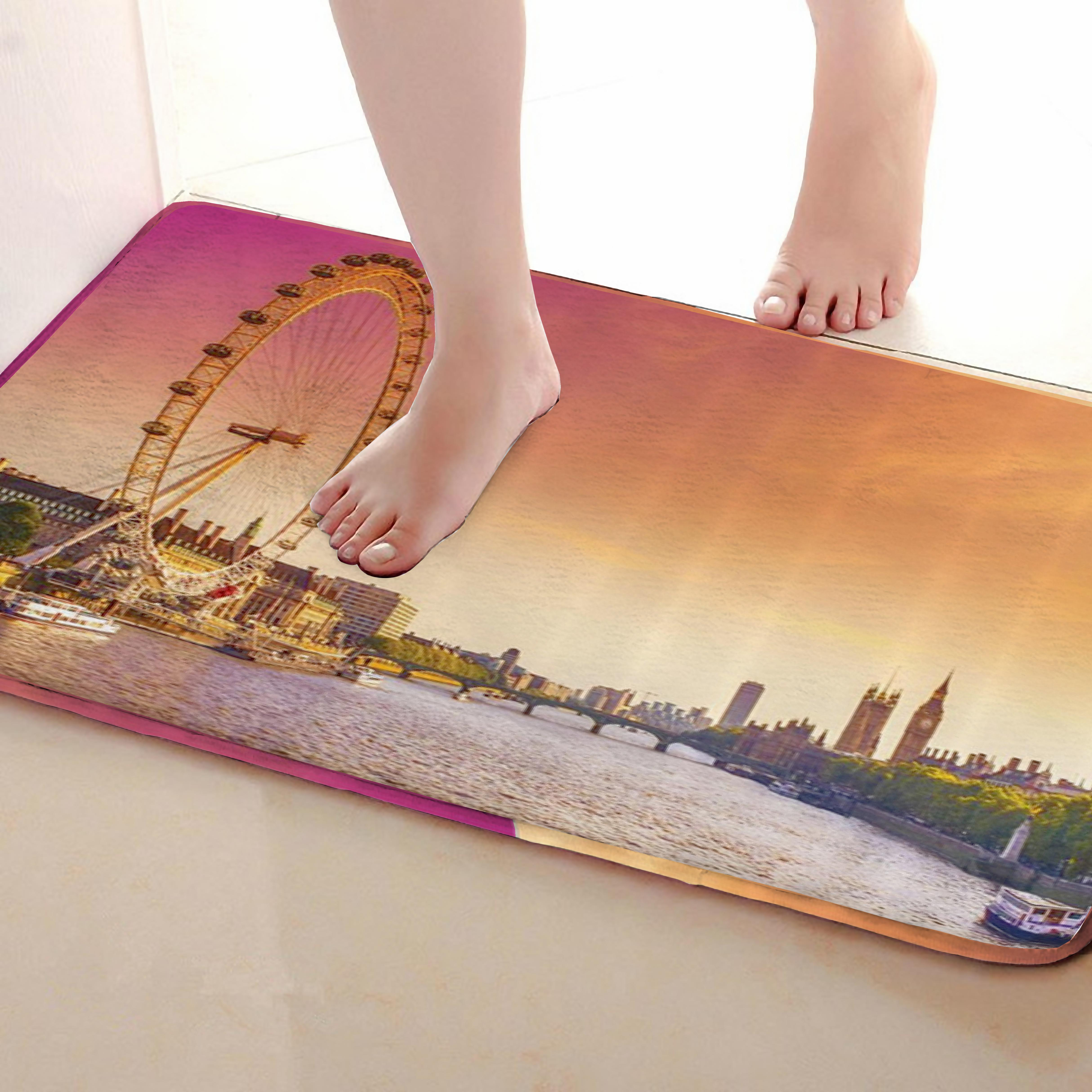 Ferris Wheel Style Bathroom Mat,Funny Anti Skid Bath Mat,Shower Curtains Accessories,Matching Your Shower Curtain