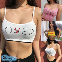 Summer Women Crop Tops 2019 New Casual Letter Print Square Collar Tank Size S-XL