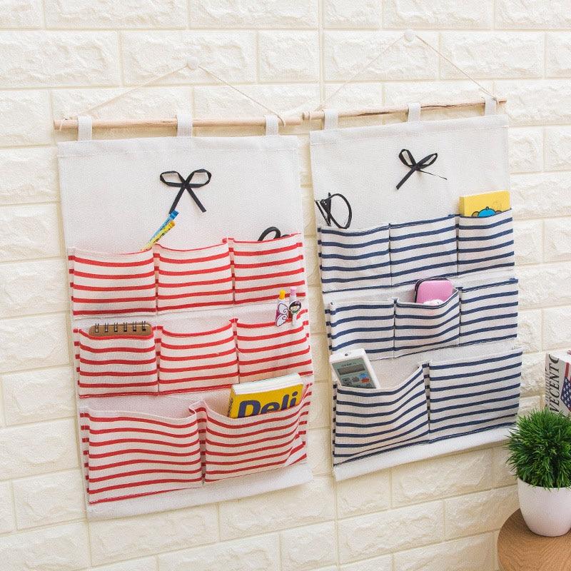 Image 3 - 2019 NEW Organizador Stripe Foldable Hanging Makeup Organizer Bathroom Home Hang Storage Bag Wall Debris Laundry Basket-in Hanging Organizers from Home & Garden