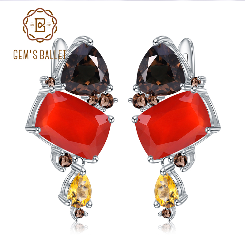 GEM S BALLET 925 Sterling Silver Handmade Modern Stud Earrings Natural Rectangle Carnelian Earrings for Women