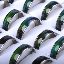 Wholesale 10pcs/lot Mixed Change Color Silver Plated Mood Rings Temperature Emotion Feeling Rings Unisex Jewelry