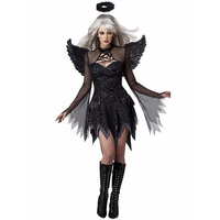 Hot Sale Black Sexy Adult Fallen Angel Devil Halloween Costume Fancy Mini Dresses For Women W548650