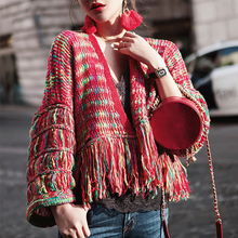Tassel Sleeve Knitted Sweater