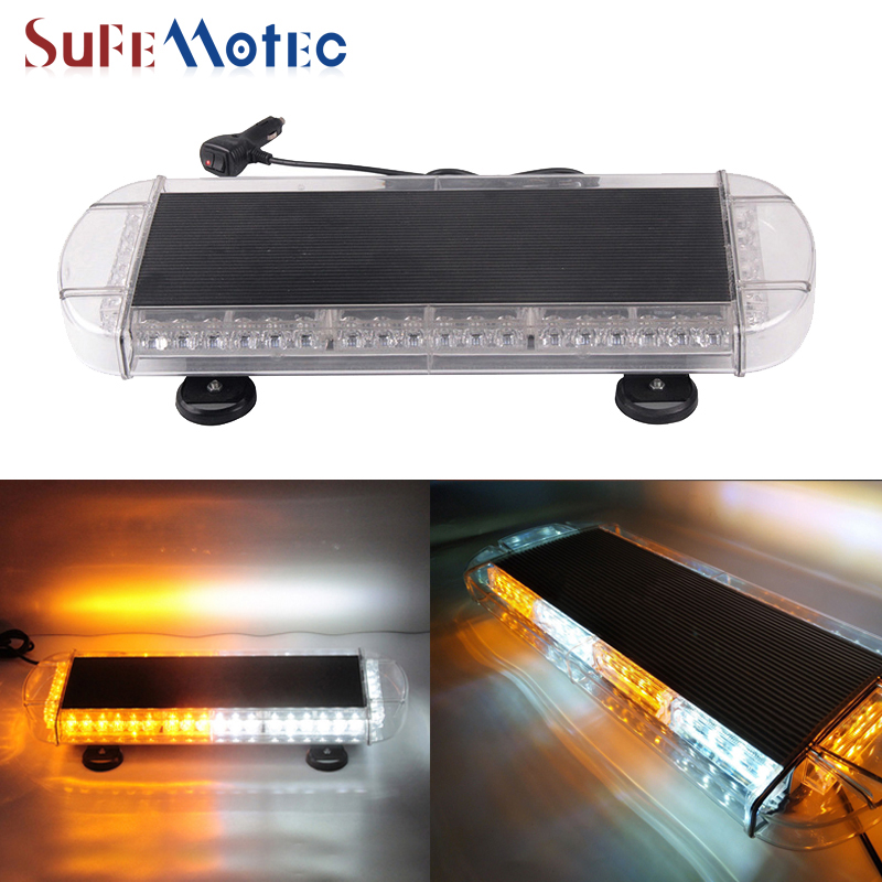 SufeMotec 48 Leds 144W 3W/Led Top Roof Bar Strobe Flashing Light with Magnetic Base Amber/Yellow 12V 24V Waterproof