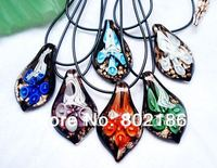 Fashion Flower Inside Lampwork Glass Pendant Necklaces 6pcs Rubber Cord Opp Card Packing