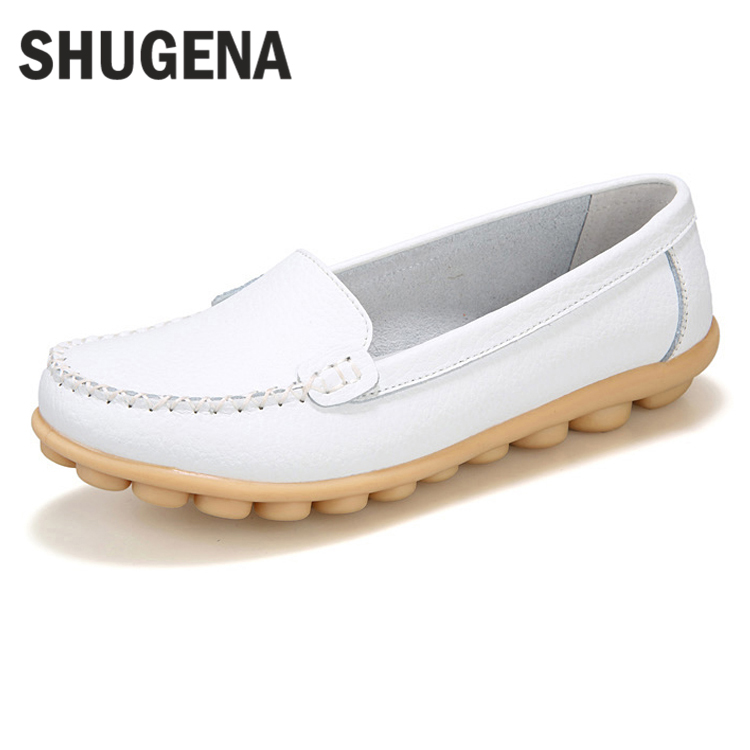 A SHUGENA New arrival women flats shoes female casual patent leather loafers slips leather white flat handmade shoes XYL0724A1 2016 new arrival woman flats genuine leather white women casual shoes platform hot sale designer flat shoes drop shipping