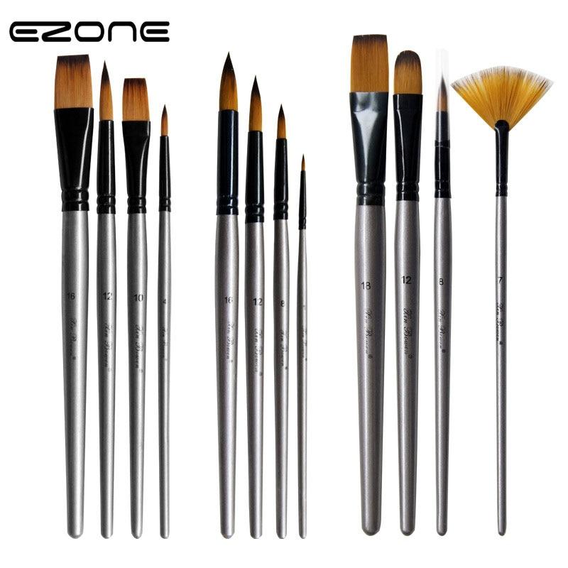EZONE 4PCS/SET Silver High Quality Nylon Brush New Style Oil Painting Brushes Aluminum Tube Birch Brush Set Art Students Tools