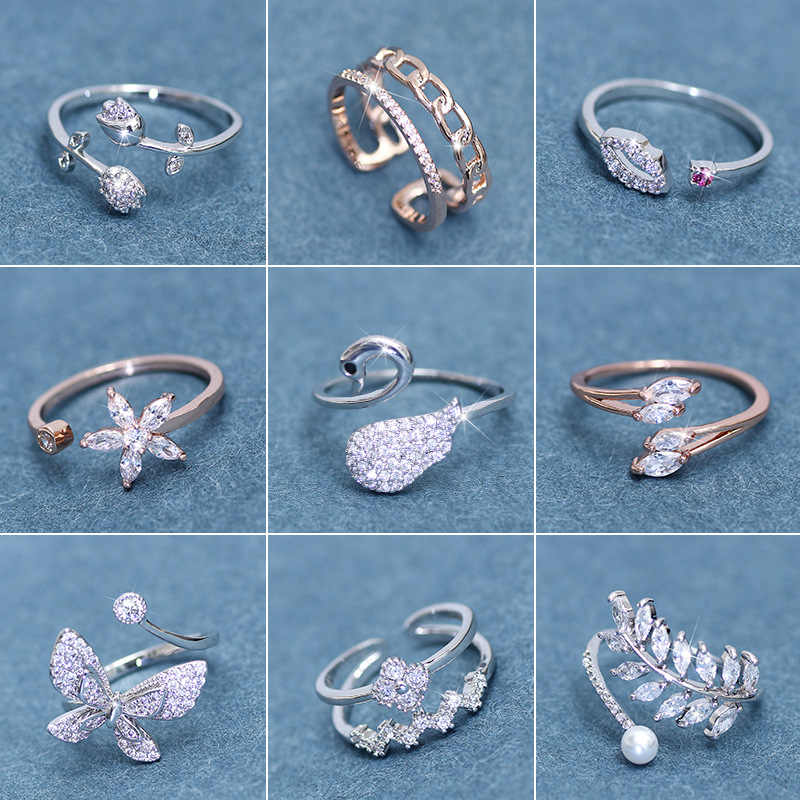 Korean style simple fashion cubic zirconia female ring swan flower butterfly rhinestone ring marriage engagement jewelry