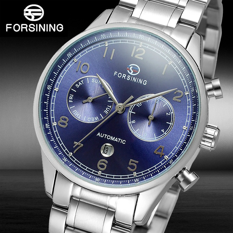 FORSINING Automatic Mechanical Watches Men Self Wind Auto Date Month Week Stainless Steel Business Wrist watch Relogio Masculino fashion sewor watches mens self wind automatic mechanical watch auto date analog leather sport men wrist watch relogio masculino