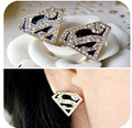 Fashion Golden Flash CZ Diamond Earrings Superman Triangle S Word Enamel Stud Earrings For Women brincos E169
