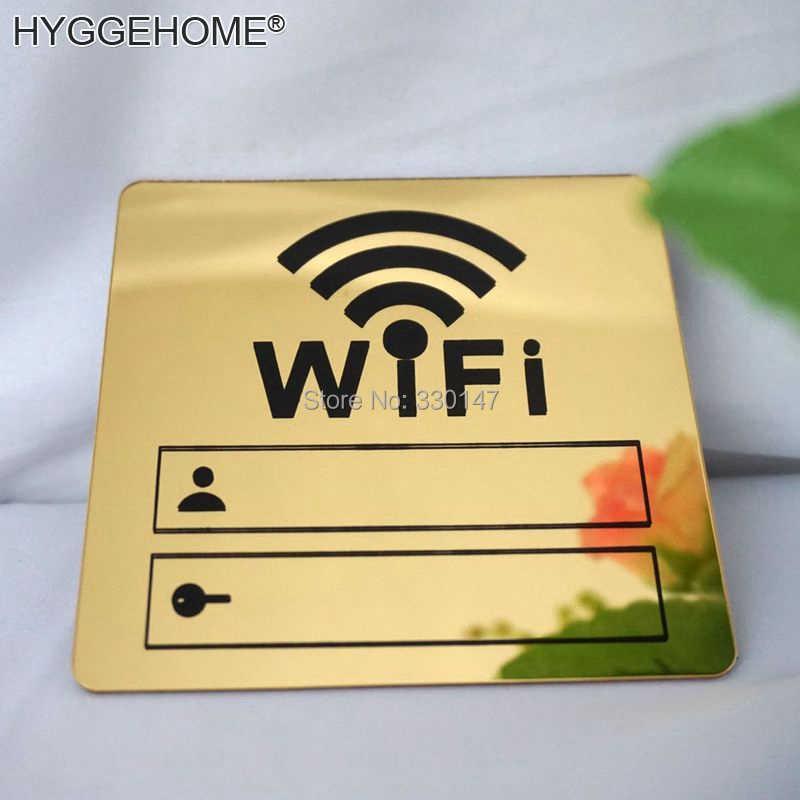 Wifi знак 3D акриловые зеркальные настенные наклейки перезаписываемый почерк учетная запись и пароль для общественных Shope wifi вывески