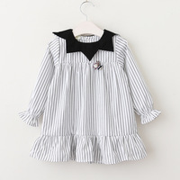 Preppy School Baby Spring Boutiques Kids Clothes Casual Appliques Star Collar Dresses Children Girls Striped Clothing