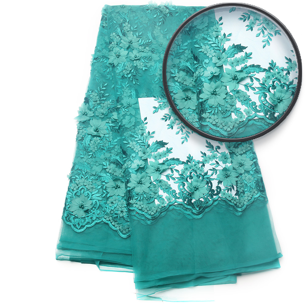 hot sale teal color african 3d flower lace fabric with beads for wedding dress french tulle