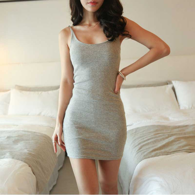 Women Summer Sexy Basic Sleeveless Bodycon Party Solid Color Mini Dresses Female Slim Vestidos Vest Tanks Backless Fashion Dress