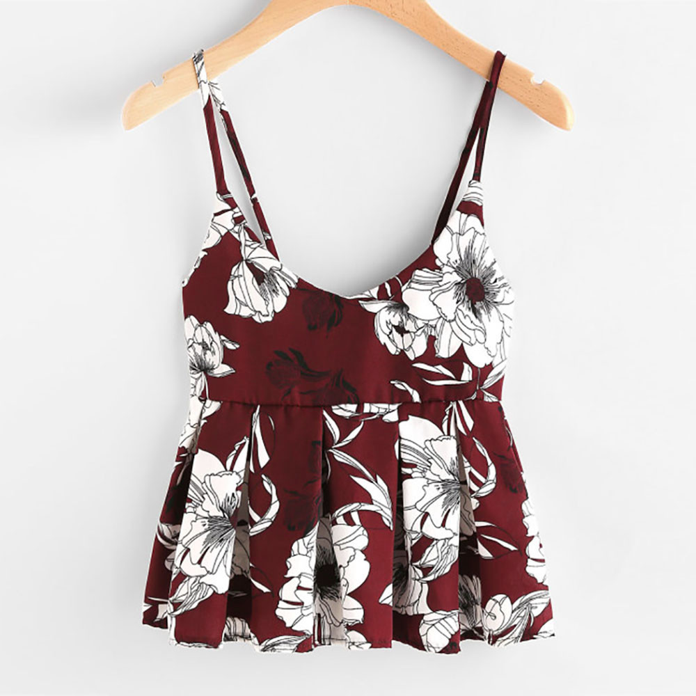 Sleeveless Floral Print Ruffles Blouse Crop Tops Vest Tank Top Cami T Shirt Sexy Women Crop Tops 2019 Summer