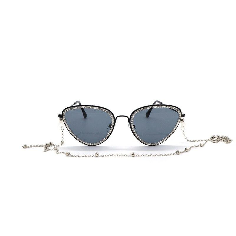 Cat Eye Metal Frame Sunglasses Rhinestone Chain Vintage Mirrored Women Fashion Flat Lens Cat-Eye