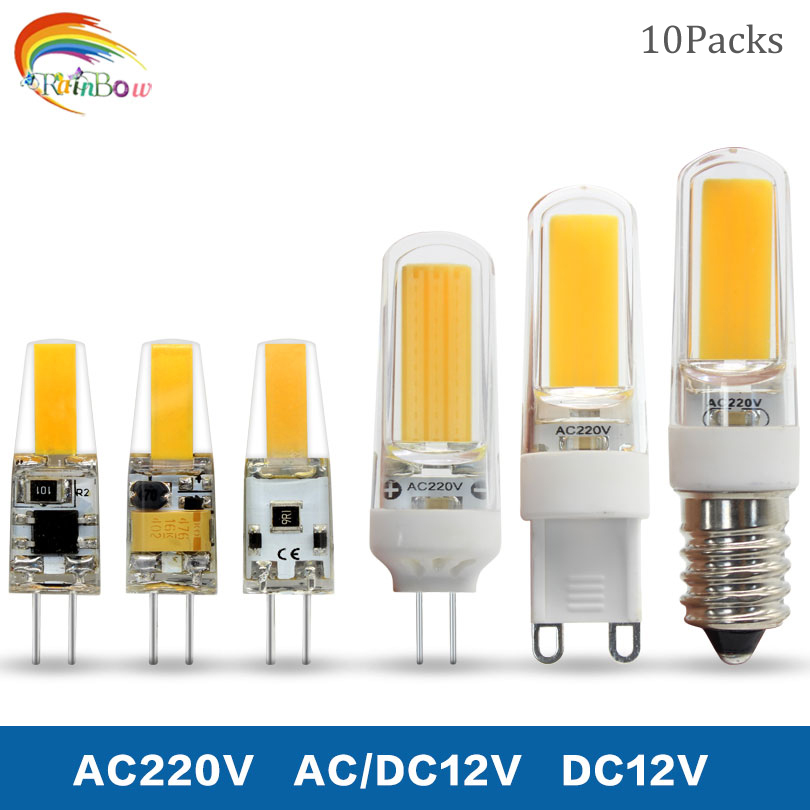 Light Bulbs 10pcs Led G4 Lamp Bulb 6w 9w Ac/dc 12v 220v Dc12v G9 E14 Cob Smd Led Lighting Lights Replace Halogen Spotlight Chandelier In Pain