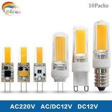 Bombilla LED G4 de 6w, 9w, ca/cc, 12V, 220V de cc, 12V, G9, E14, COB, iluminación LED SMD, reemplazo de foco halógeno, 10 uds.