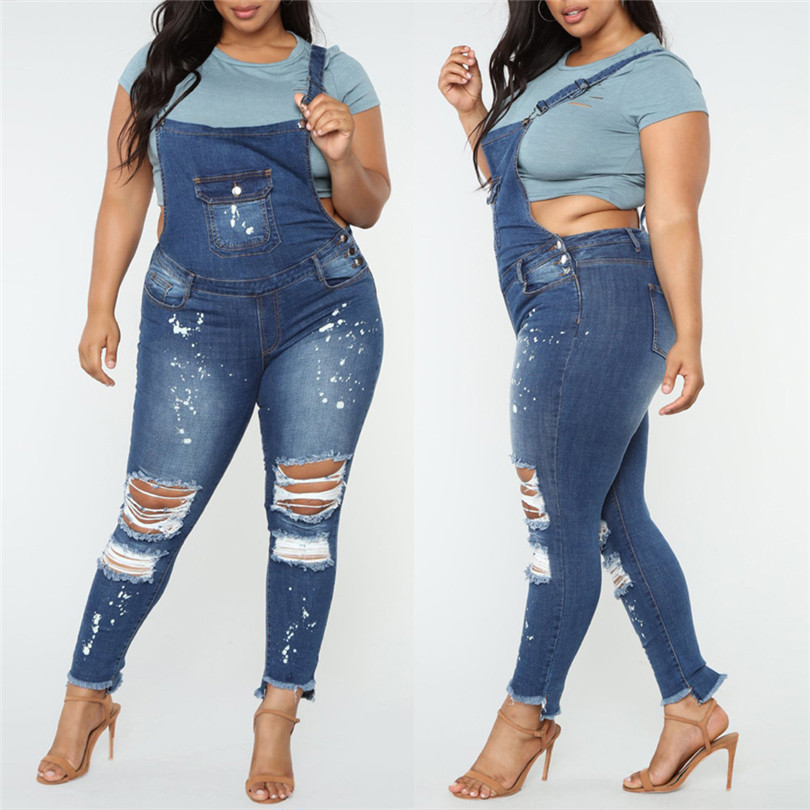 Women Girls Summer Autumn New Fasihon Casual Denim Bib Hole Pants Overalls Jeans Demin Trousers Jumpsuit Plus Size Jeans  #4F05