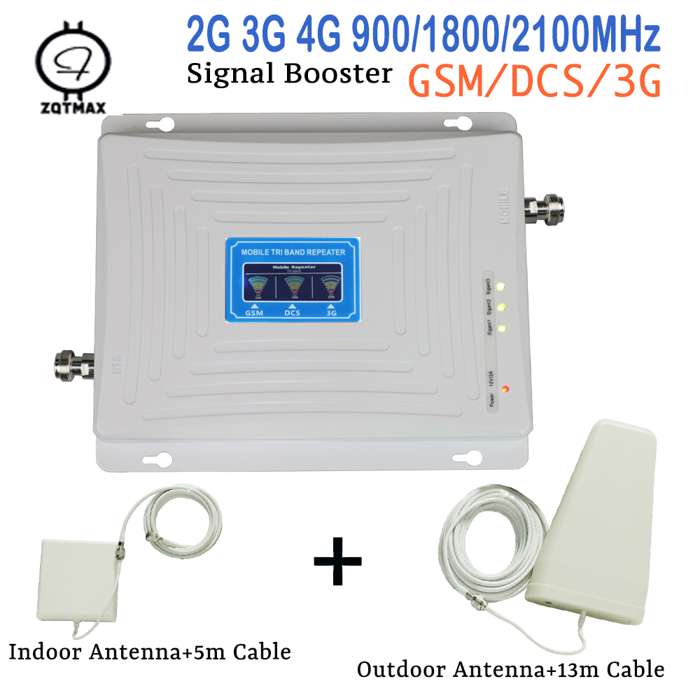 Tri Band 2G 3G GSM 900 WCDMA 2100 4G LTE 1800 Signal Booster LCD Display Cellular Repeater 65dB Gain Cell Phone Amplifier