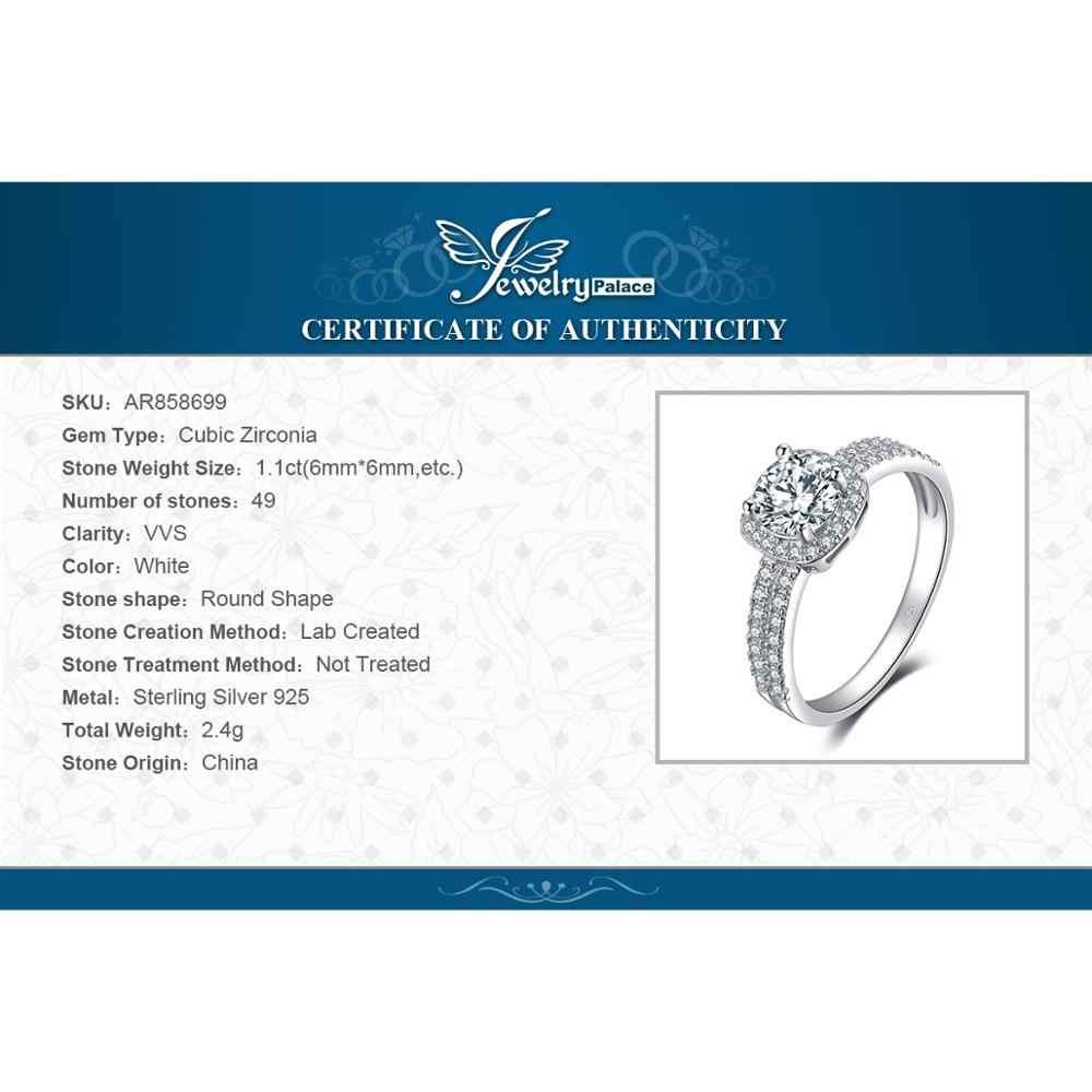 JewelryPalace 1ct CZ Halo Anello di Fidanzamento 925 Anelli In Argento Sterling per Le Donne Anniversario Anello di Nozze Anelli Gioielli In Argento 925