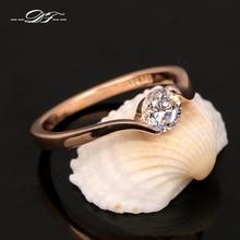 Обручальные/Свадебные кольца с австрийским кубическим цирконием для женщин, розовое золото, модные брендовые ювелирные изделия для женщин, DWR239