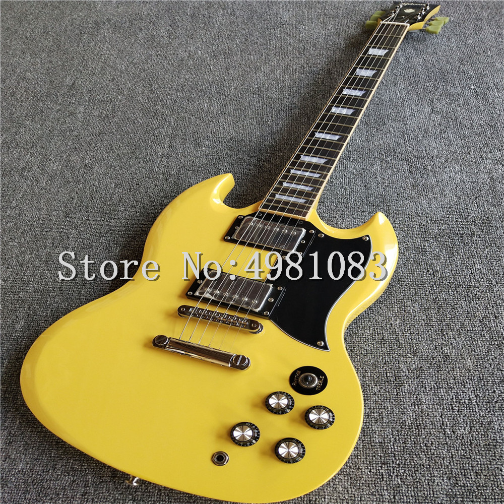 high quality yellow color electric guitar with tonepro bridge solid mahogany guitarra real. Black Bedroom Furniture Sets. Home Design Ideas