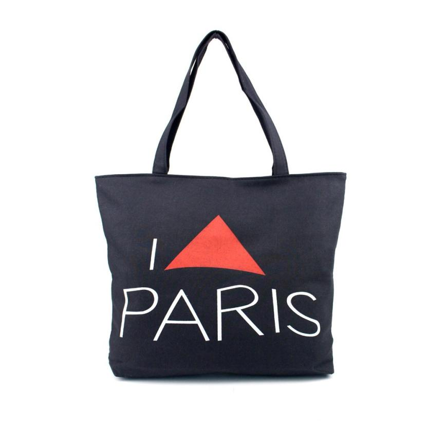 Women Canvas Handbag Shopping Shoulder Bag Paris Eiffel Tower Bookbag Tote Designer Famous Brand MAY10
