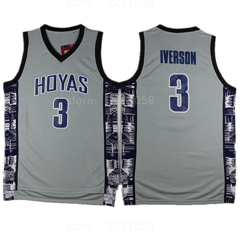 Ediwallen College 3 Allen Iverson Jersey Men Sale Sports Georgetown Hoyas Basketball Jerseys Uniforms Stitched Blue Black Gray