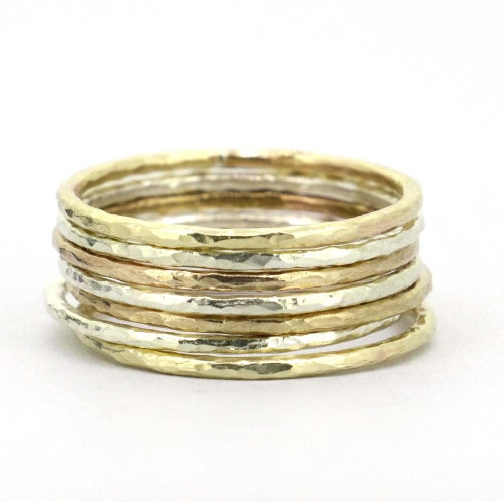 7pcs Set Real Genuine 925 Sterling Silver 9k Gold 2 Tone Hammered Stacking Ring For Women