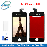 e-trust 10PCS/LOT AAA+ Quality For Apple iPhone 4S LCD Display Touch Screen Digitizer Assembly+Tempered Glass+Tools Black White