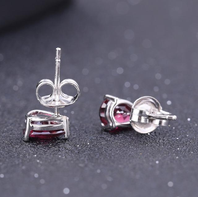 Gem's Ballet 4*6mm 1.05Ct Natural Rhodolite Garnet Gemstone Stud Earrings 925 Sterling Silver Fashion Jewelry for Women