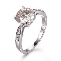 MYRAY M Oissaniteแหวนหมั้น14พันสีขาวทองรอบMoissanite