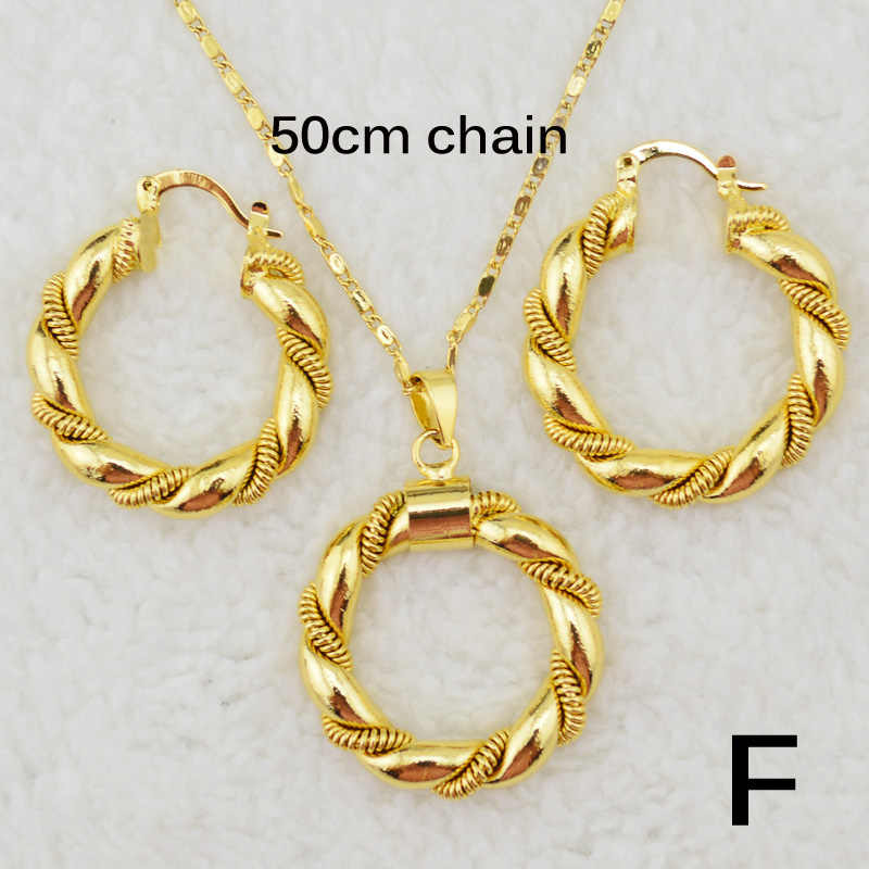 Ethlyn Dubai gold Ethiopian necklace & earrings African sets Gold Color jewellery for Israel/Sudan/ Arab/middle east women S21