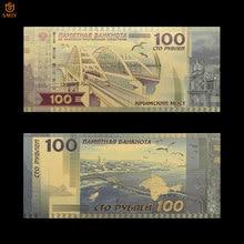 Billetes de banco de oro de 24 quilates, dinero de Copa del mundo de Rusia, 2018 rublos, 100