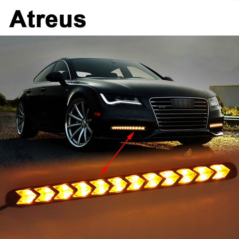 Atreus 2X Car with Yellow Steering Fog Day Lights Turn Signals LED For Nissan qashqai Citroen c4 c5 c3 Chevrolet cruze Peugeot atreus 1pair car led fender side turn signals