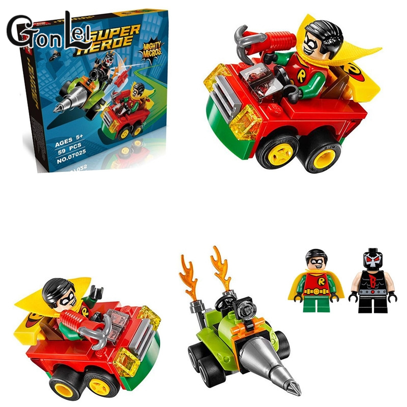 GonLeI LEPIN 07025 DC Hero Mighty Micros Series Bane/Robin Fighting Building Block Toys Classic Movie Decoration Gift new lp2k series contactor lp2k06015 lp2k06015md lp2 k06015md 220v dc