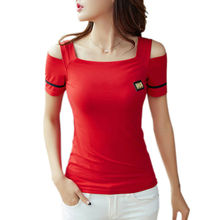 Off The Shoulder Tops For Women Tops Cotton Slim T-Shirt Korean Clothes Tee Shirt Femme 2017 Short Sleeves T Shirt Sexy Tshirt