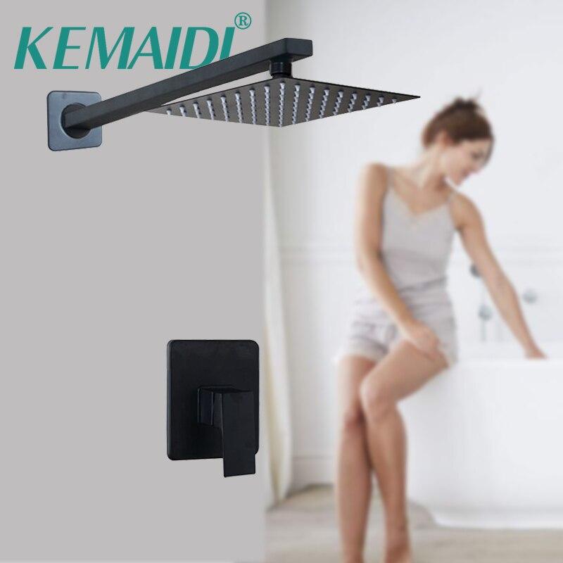 KEMAIDI Black Bathroom Ultrathin Rain Shower Faucets 8/10/12/16 Inch Square & Round Rainfall Showerhead Mixer Sets