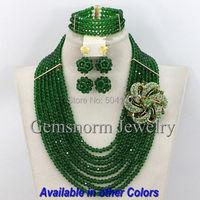 2017 الجيش الأخضر النيجيري الخرز الأفريقي مجوهرات مجموعة سيدة حزب الخرز والمجوهرات مجموعة دبي GS333 المجوهرات بالجملة الشحن المجاني