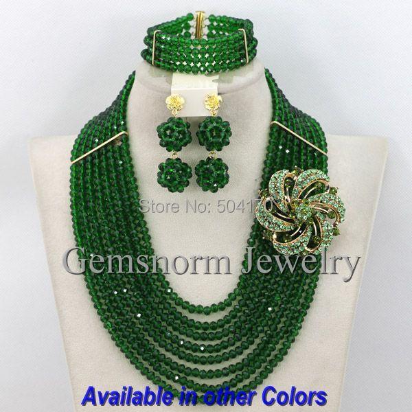 2017 Verde Oscuro Ejército Nigeriano Perlas Africanas de La Joyería de Señora Party Jewelry Beads GS333 Dubai Joyería Al Por Mayor Envío Gratuito