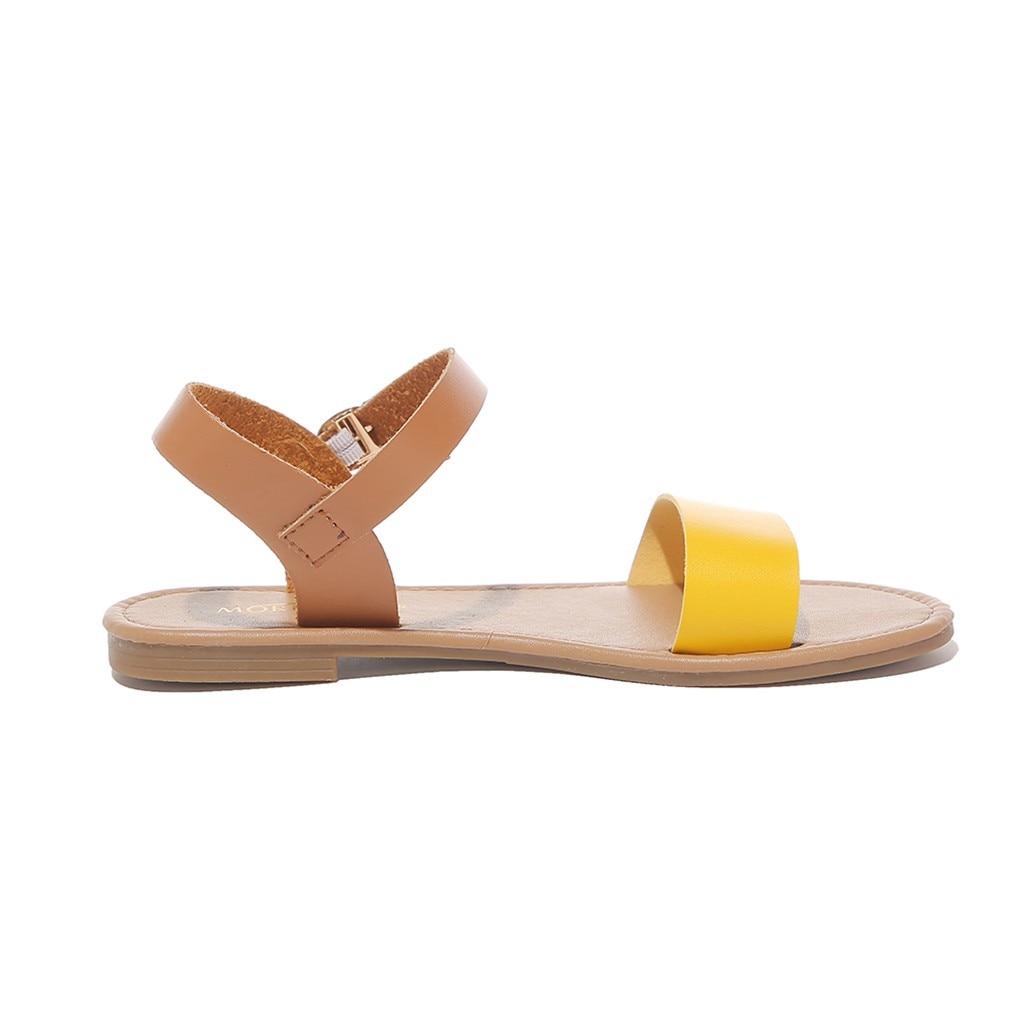 HTB1Z68vQwHqK1RjSZFPq6AwapXaY SAGACE Women's Sandals Solid Color PU Leather Sandals Women Fashion Style Flat Summer Women Shoes Women Shoes 2019 Sandals 41018