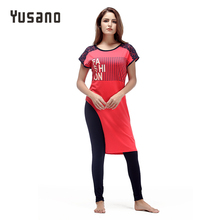Купить с кэшбэком Yusano Pajamas Sets Women Cotton Short Sleeve Sleepwear Lace Patchwork Letter Print Irregular  Pyjamas Womens Kigurumi Nightwear