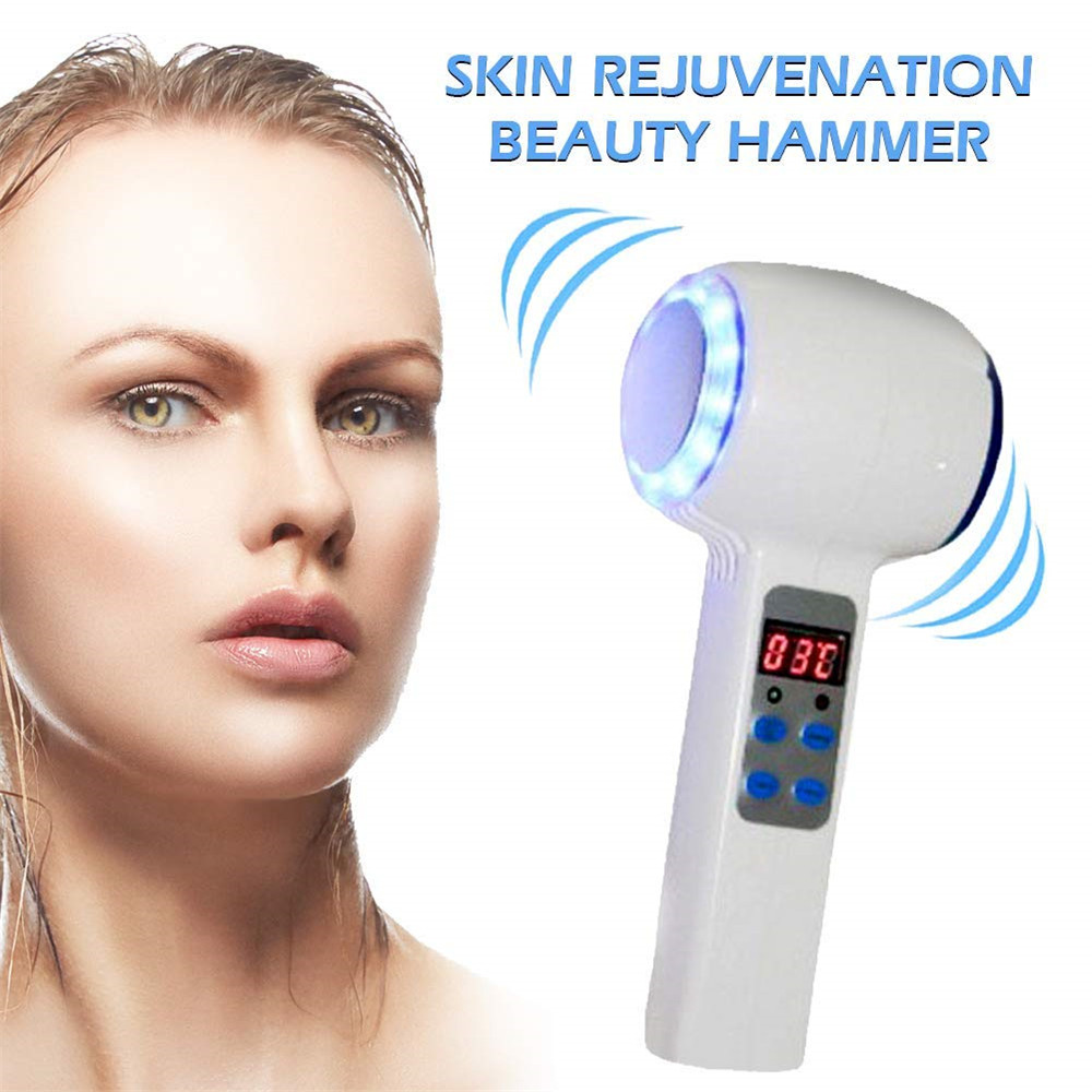 Hot Cold Hammer Cryotherapy Blue Photon Lifting Rejuvenation Facial Machine Acne Treatment Skin Care Beauty Massager