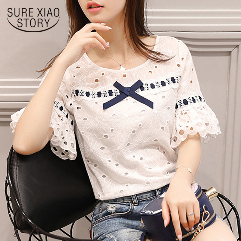 2018 new summer fashion women tops blouse shirt lace sweet style short sleeved blouse hollow casual white women clothing 0460 30