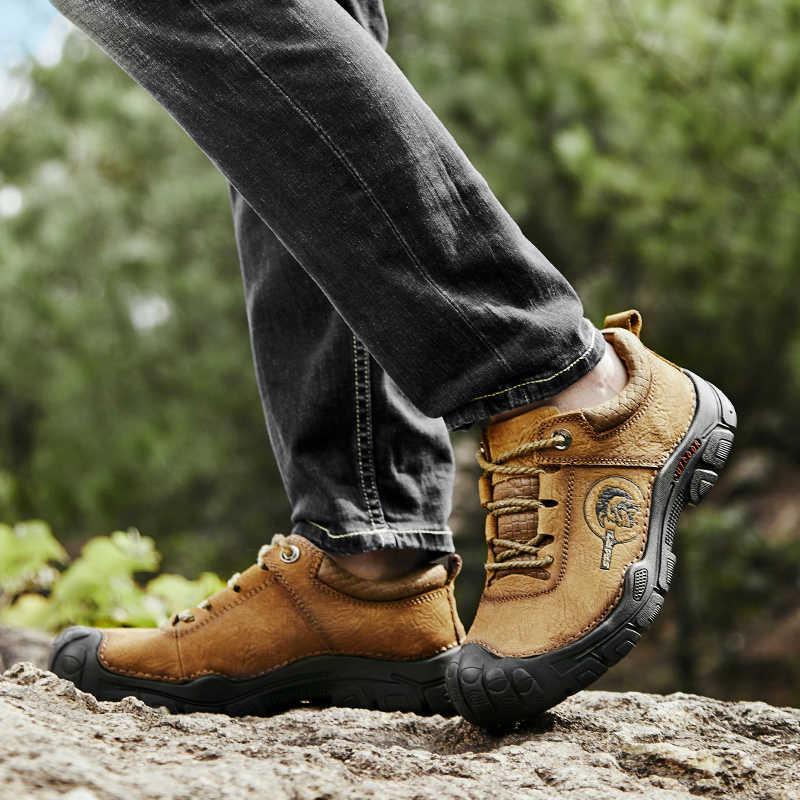 Valstone جلد طبيعي في الهواء الطلق أحذية خمر خارج المشي السياحة الجودة أحذية رياضية للرجال الدانتيل متابعة عدم الانزلاق المطاط