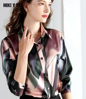 2019 New Style Real silk printed shirt for women female long sleeve Natural Silk Blouse Plus size thin slim Blouses 4XL 19mm